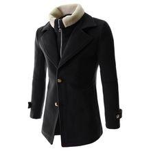 Nuevo invierno Coat Pea hombres Casual Brand delgado cachemira mezcla de lana cazadora Trench Warm Coat Jacket Coat Fake dos piezas abrigo para hombre