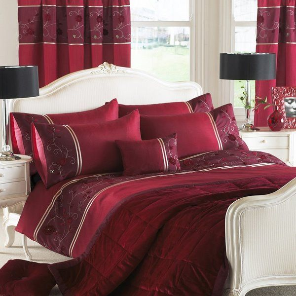 Burgundy Red Bed Sheets And Curtains In White Bedroom With Black Table Lamps Bedroom Design Decor Ideas Bed S Red Bedding Sets Red Duvet Cover Red Duvet