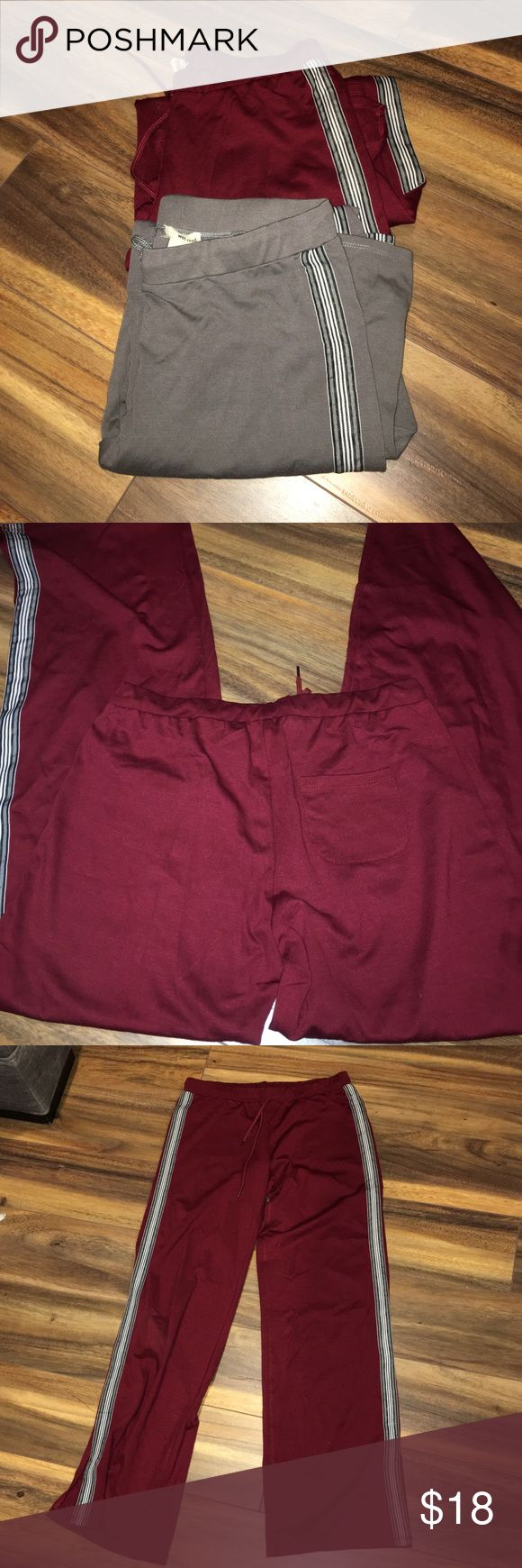 Wet Seal Sweatpants Bundle One grey and one maroon sweatpant bundle!  In good used condition! Has a back pocket and slit on the ankle/bottom of the pants. Elastic waste band. Very comfortable light material that stretches nicely. ❌If you'd like to make an offer please use the offer button. ❌I will always discount on any bundles.  ❌I will never accept any low ball offers especially if it's already priced at $5 Wet Seal Pants Track Pants & Joggers