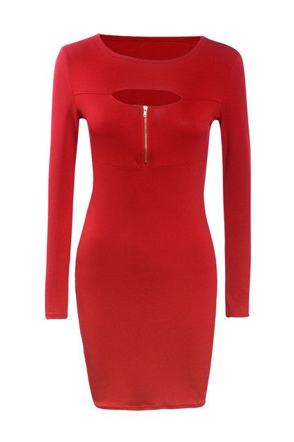 Long Sleeve Hollow Out Sexy Women Night Club Dresses Autumn Zipper Up Shealth Bodycon Dress Plus Size Black Vestidos