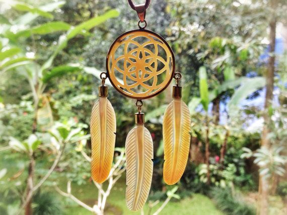 Seed of Life Dreamcatcher Golden Shell Pendant - Brass Finish - Feather Tribe