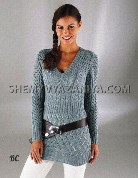 Длинный пуловер с V-образным вырезом горловины / Удивительная еда!