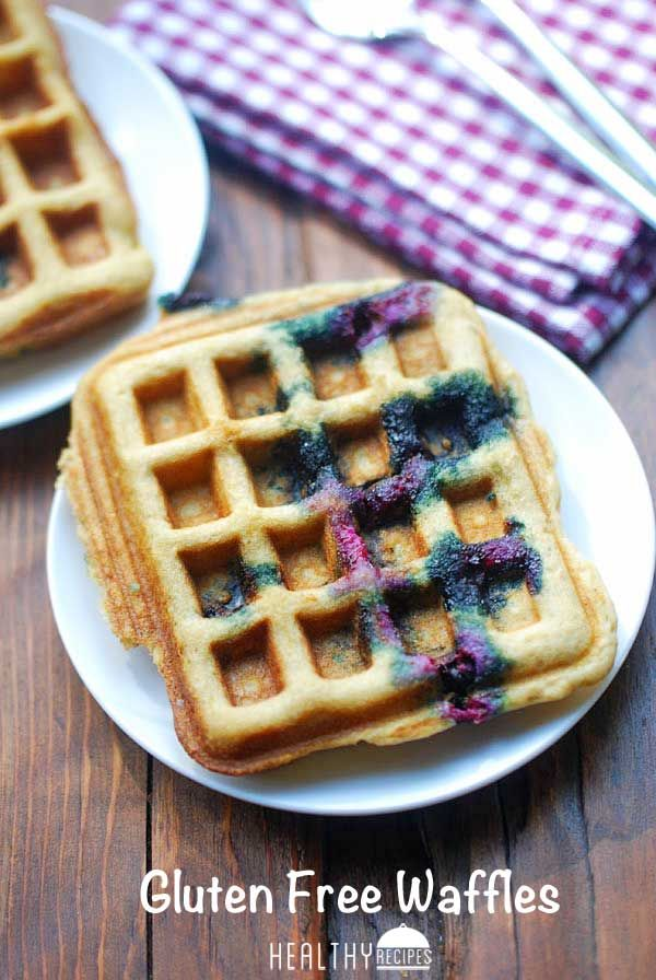 These gluten free blueberry waffles are crisp on the outside, tender and fluffy on the inside. #gf