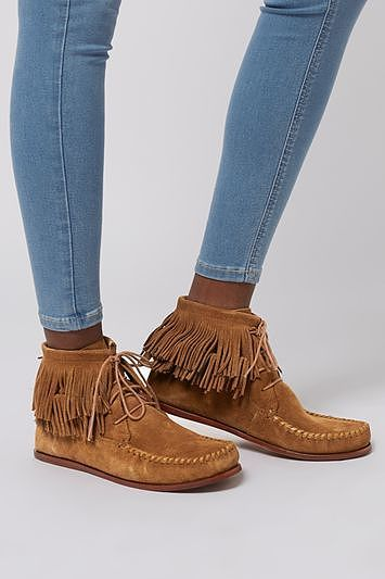 Womens tan africa moccasin boots from Topshop - £52 at ClothingByColour.com