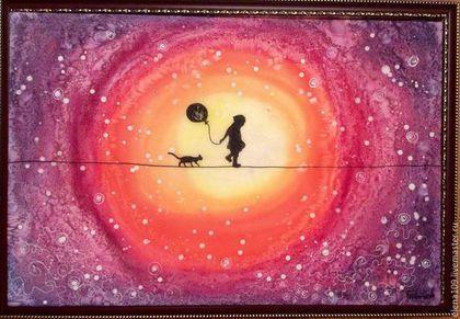 Символизм ручной работы. Ярмарка Мастеров - ручная работа. Купить Маленький принц.. Handmade. Разноцветный, Батик