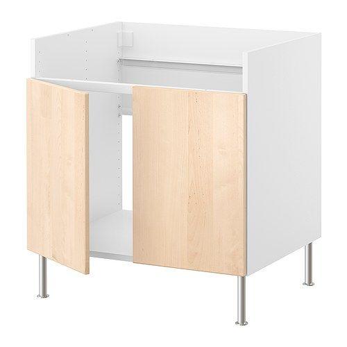 Faktum base cab f domsj double bowl sink nexus birch for Birch veneer kitchen cabinets