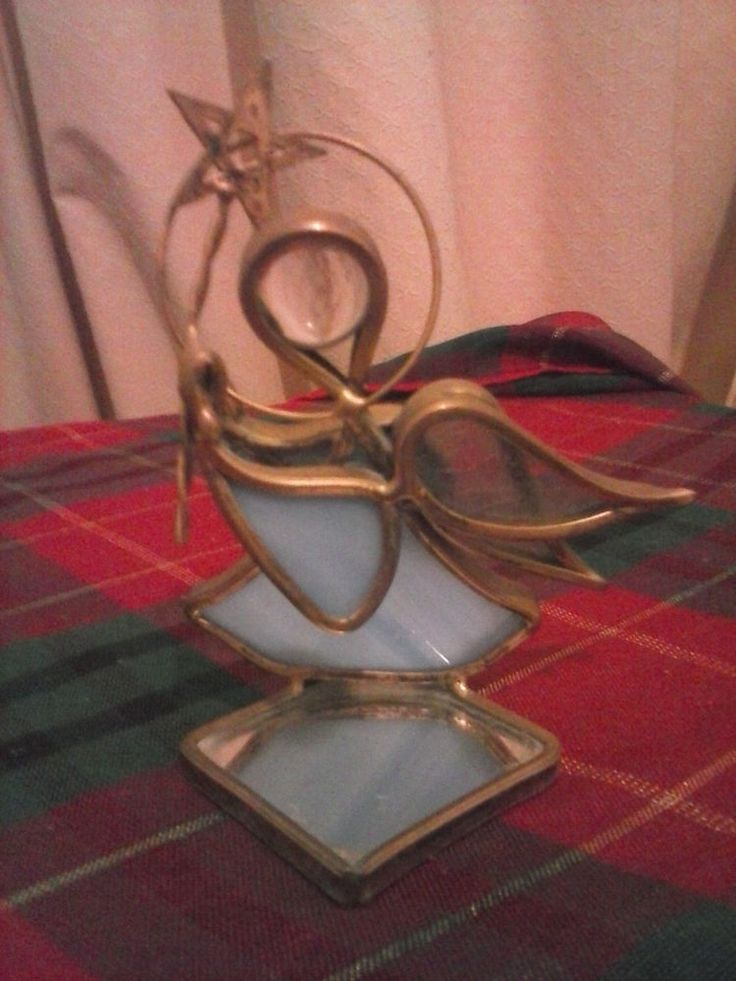 Vintage Brass,Glass and Mirror Angel, Christmas Ornament