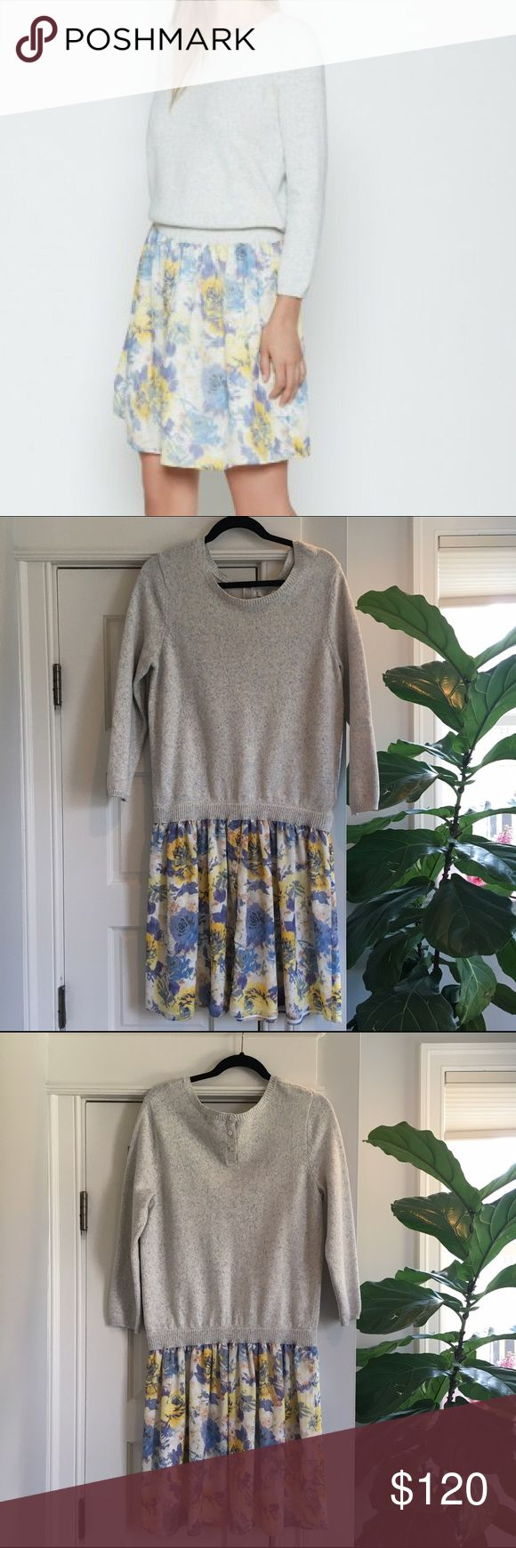 Joie Dessa Sweater Dress Joie Dessa sweater dress. Sweater and silk skirt layered look, so fresh for spring! Brand new with tags. Size large. Materials of Sweater portion: 80% cotton, 20% nylon; skirt portion: 100% silk. Joie Dresses