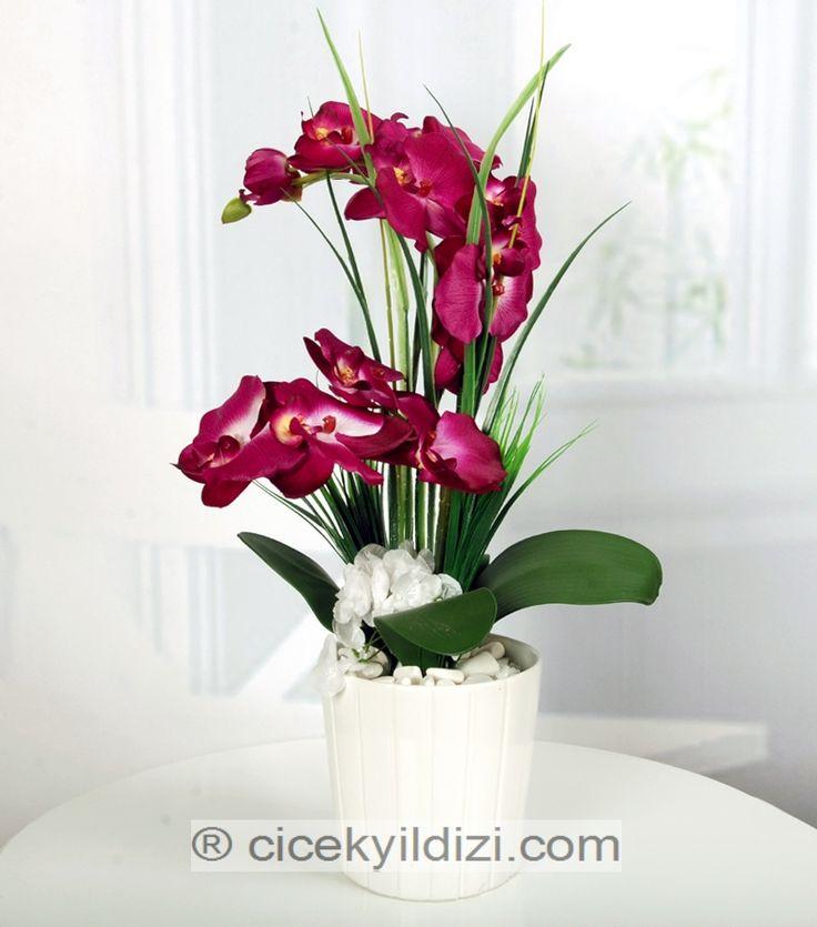 Seramikte Mor Yapay Orkide https://www.cicekyildizi.com/yapay-aranjman