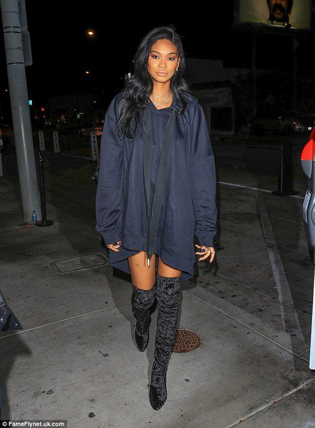 Catwalk queen: Chanel Iman showed off her enviably long, lean legs in a pair of thigh-high boots as she enjoyed a night out at celebrity hotspot Catch LA in West Hollywood on Tuesday