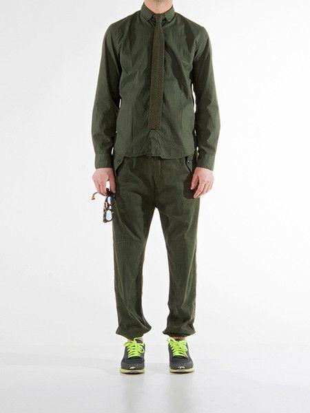 Round Collar Shirt | Green Garment Dye