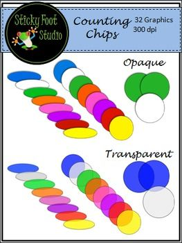 Counting Chips Clip Art - Opaque and TransparentThis set of Clip Art includes 32 clip art graphics. It includes all of the transparent and opaque graphics in the thumbnail image. The graphics are high quality 300dpi transparent PNG files.  This Clip Art Set Is Included In My Math Manipulative BundleMath Manipulative Clip Art Bundle - 700+ GraphicsI hope you enjoy this math set and find it useful!PLEASE READ THE TERMS OF USE BELOWYou may use these graphics for personal, free, or small…