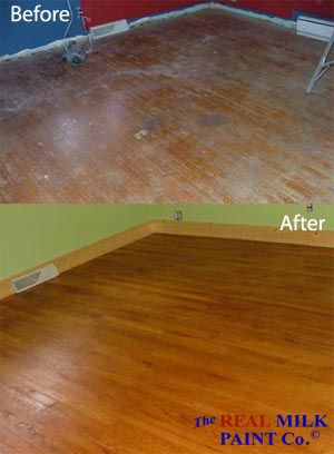 Before/After floor finished with Pure Tung Oil