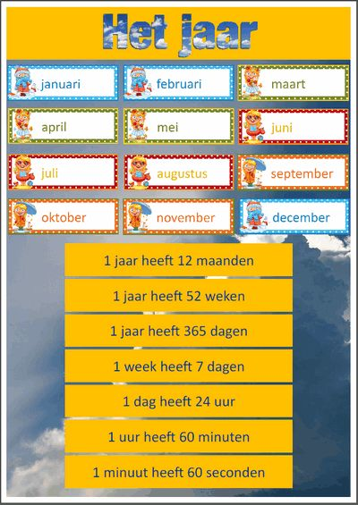 Een heel pakket, - Maandkalender met ophangkaartjes - Jaarweetjes - Seizoenenwiel - Maanden van het jaar met bijbehorende seizoensgebeurtenissen Nederlands pakket. $5,-