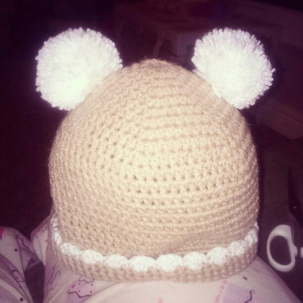 Made from a rico design, this is my 2 year olds winter hat. The pattern does say use cotton soft dk yarn, but i used chunky double knitt.