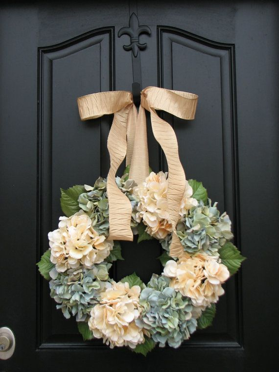 Hydrangeas - Housewarming Gift - Year Round Floral Wreath - Door Wreath - Shabby Chic - Country Decor: