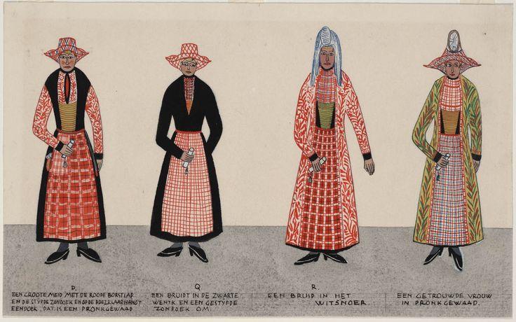 """Vier vrouwen in Hindelooper streekdracht."" (Four women in Hindeloopen regional costumes.)  Artists: N. Huppes and Hendrik J. Lap, 1849.  Women's costume of the town of Hindeloopen, province of Friesland, The Netherlands."