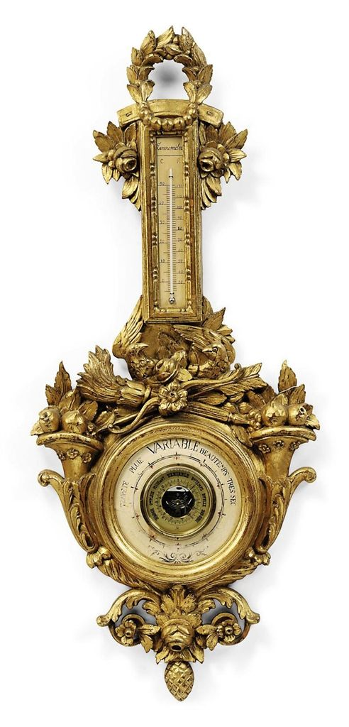 A FRENCH GILTWOOD BAROMETER -  OF LOUIS XVI STYLE, 20TH CENTURY.