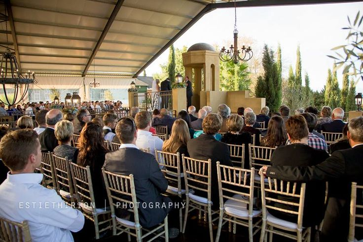 Ceremony on our lovely deck overlooking the mountains, vineyards, wheatlands etc