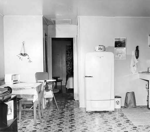 Kitchen in University Apartments, 1951 :: Utah State University Historical Photo Collection