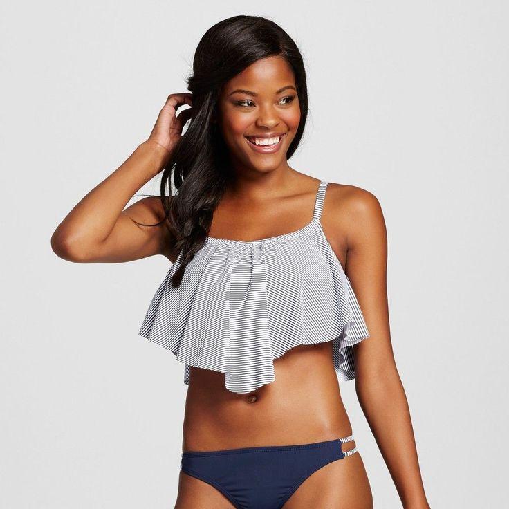 Women's Flounce Bikini Top - Navy/White (Blue/White) - D/DD - Xhilaration