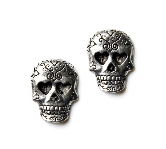 Day of Dead Skull Cufflinks Set Gift Box Included by Mancornas, $33.50
