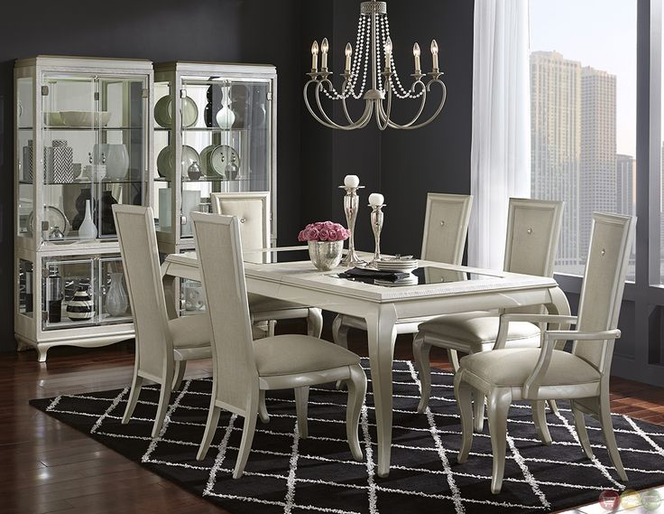 Michael Amini After Eight Studio Modern Dining Table Set by AICO. $3,100 12pc