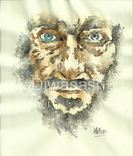 Homeless face. Watercolor on paper, by Mia Diwasasri