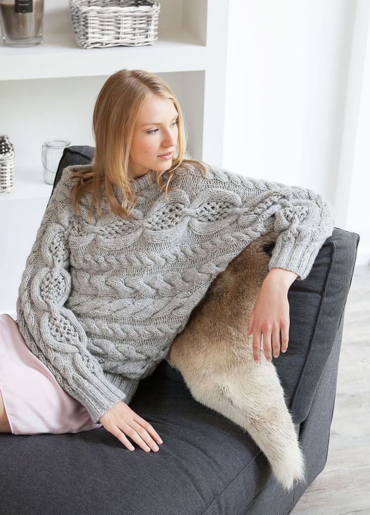 Lana Grossa KIMONOPULLI IM ZOPF-LOCHMUSTER Alta Moda Alpaca/Lace Paillettes - FILATI Handstrick No. 62 (Home) - Modell 8 | FILATI.cc WebShop