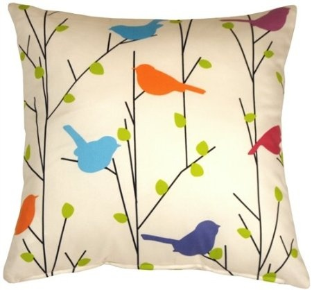 Colorful birds perch among the first leaves of spring on this fun and cheerful decorative pillow. A great way to bring a splash of vibrant color to a bedroom, window seat, family room or any other space in need of a lift. Made from a soft, washable poly-cotton blend fabric.