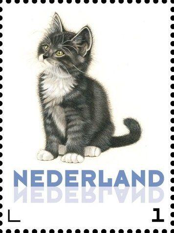 Stamp: Domestic Cat (Felis silvestris catus) (Netherlands - Personalized stamps) (Cats, Francine van Westering) Col:NL 2015-268