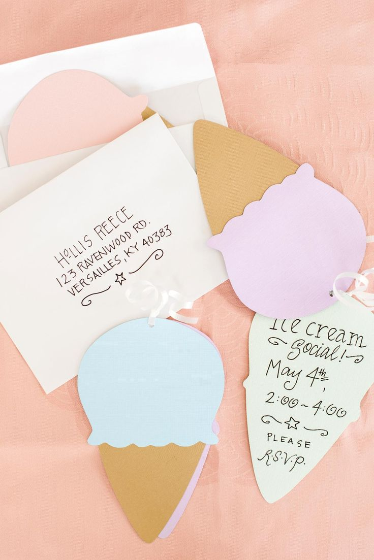 Cream colored cardstock paper studio - How To Make Ice Cream Cone Party Invites