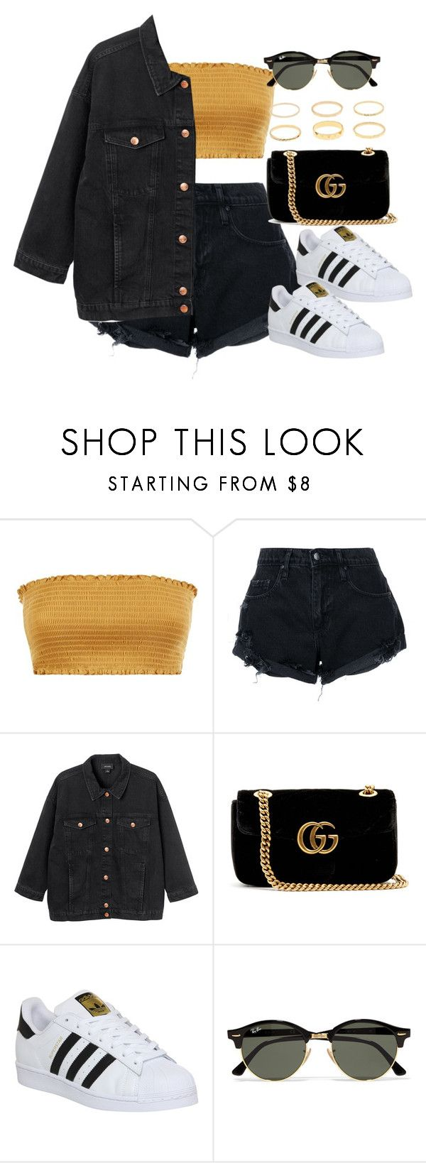 """""""Sin título #13213"""" by vany-alvarado ❤ liked on Polyvore featuring Nobody Denim, Monki, Gucci, adidas and Ray-Ban"""