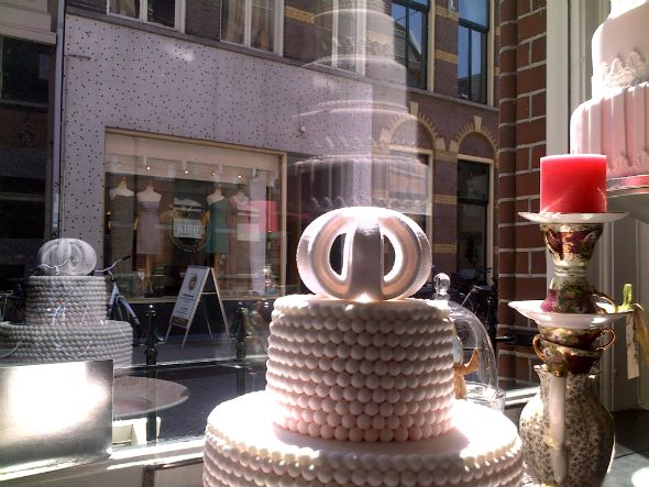 3d printed sugar Urchin cake topper taking pride of place in the shop window