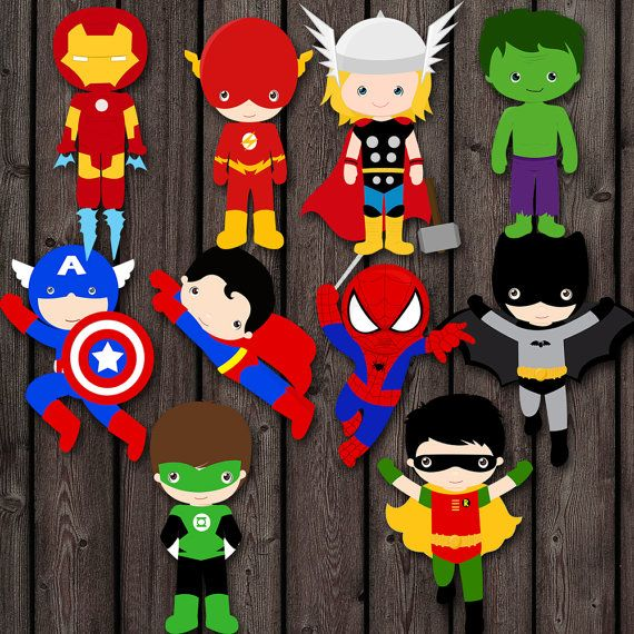 this listing is for instant download, printable superhero characters to cut out and use for any purpose! great for table, or cake center piece,