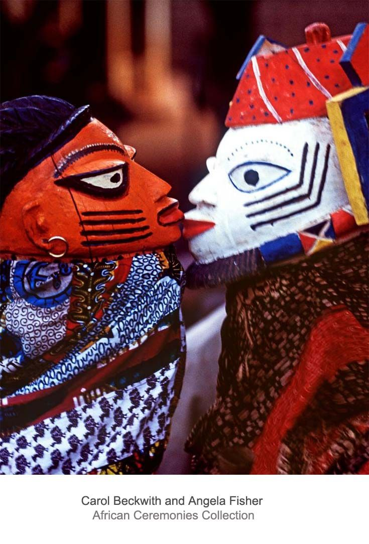 "Africa | ""The Lover"". Benin // Awo masks illustrate well-known cautionary Yoruba proverbs such the uncontrollable passion of romantic relationships. 