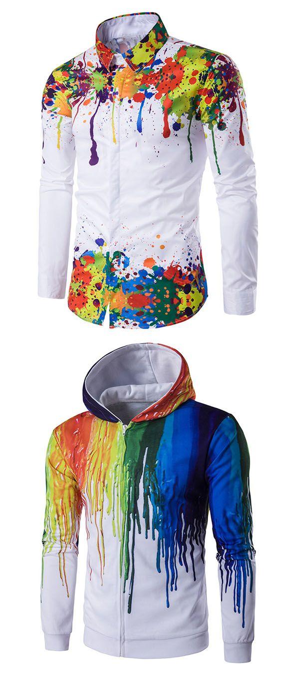 Colorful Splatter Paint Pattern Turndown Collar Long Sleeve Shirt