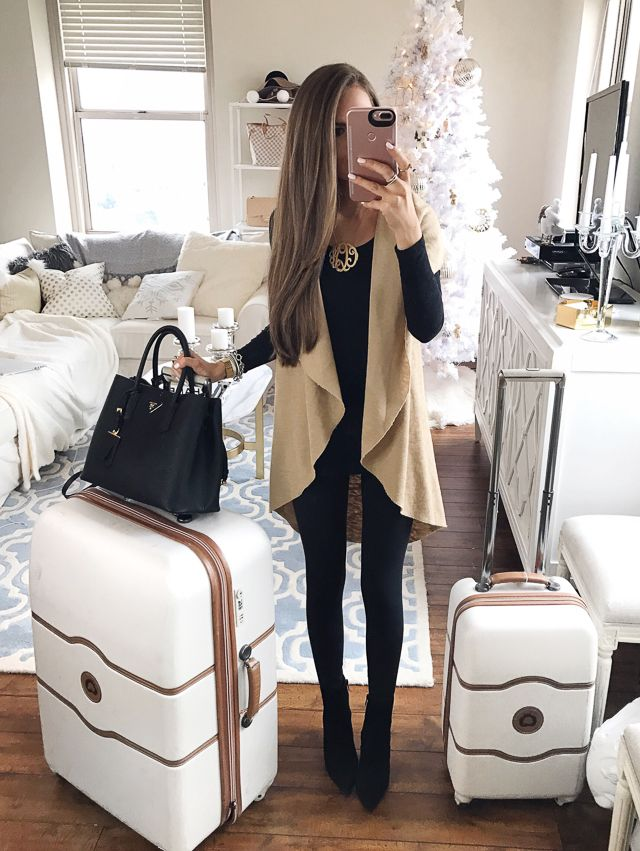 Travel airport outfit - LOVE! The luggage is pretty too