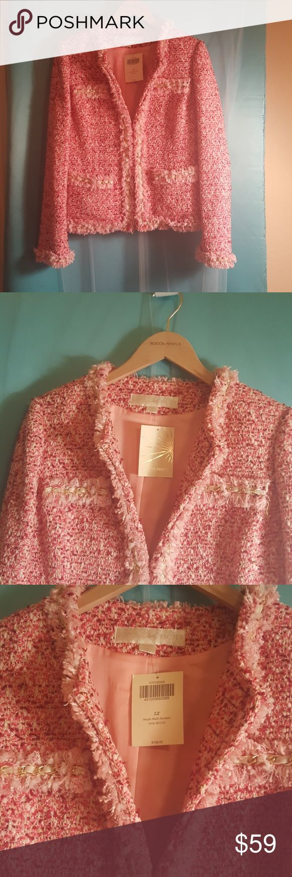 Boston Proper Parisian jacket Multicolored red and pink very similar to a Chanel design jacket without the Chanel price. Velvet Ribbon weaved in gold chain around sleeve neck and bottom of the jacket. In the front and on the pockets Boston Proper Jackets & Coats