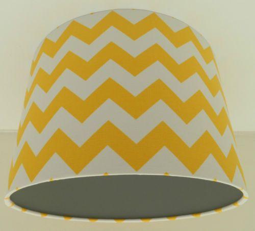 Handmade Yellow Chevron Fabric & Grey Vinyl Lampshade | eBay