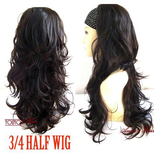 Dark Brown 3/4 del pelo completo Layer pedazo largo rizado peluca acodada mitad postizo 55-4 10 unids/lote