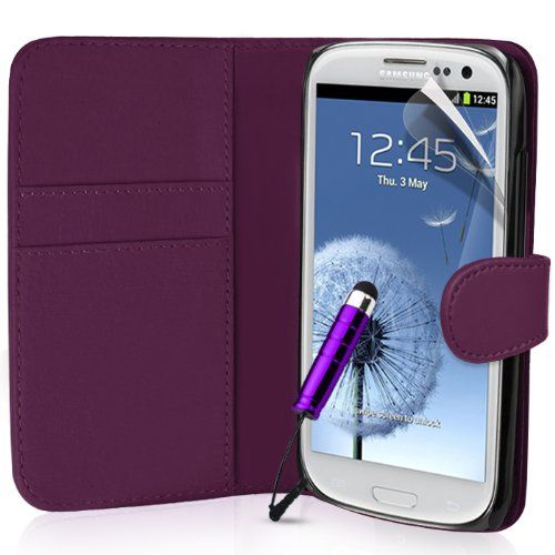 Supergets® Samsung Galaxy S3 S I9300 Purple Wallet Side Flip PU Leather Case, Screen Protector, Stylus and Polishing Cloth null http://www.amazon.co.uk/dp/B008CGB814/ref=cm_sw_r_pi_dp_ONgJub101RVPN