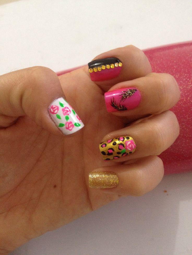 #nails#nail#nailart#nailpolish#roses#rosas#animalprint