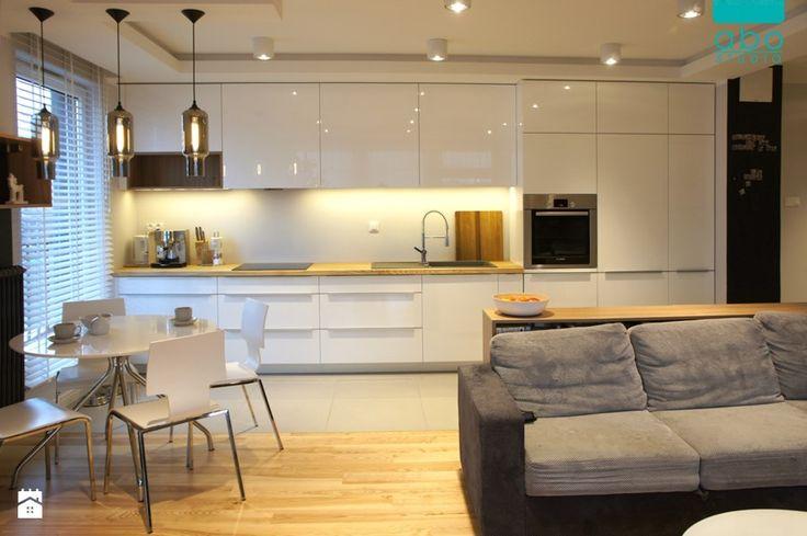apartament 2+2 - Średnia otwarta kuchnia jednorzędowa w aneksie, styl nowoczesny - zdjęcie od abostudio