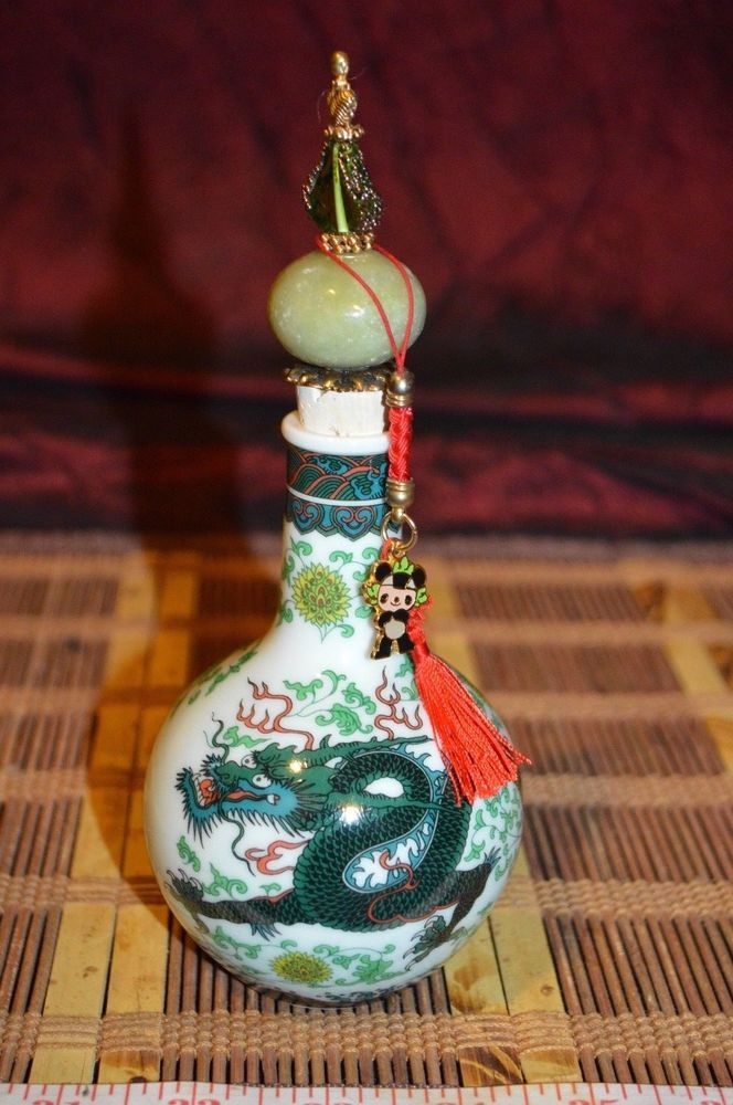 """Asian Porcelain Decanter / Vase w/ Green Dragon and Stopper 7 5/8""""x3"""" Marked"""