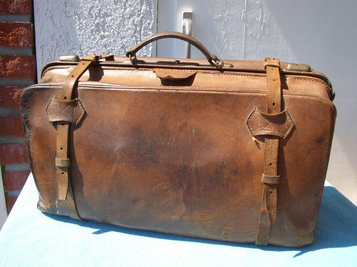 ANTIKER XXL Leder-Tasche Arzt -Koffer Hebammem-Koffer Reise-Tasche in Antiquitäten & Kunst, Alte Berufe, Arzt & Apotheker | eBay