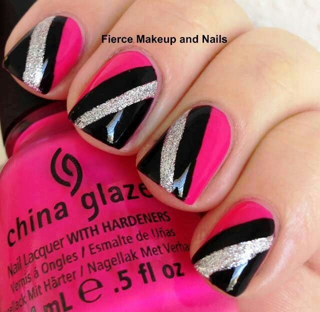 Black-and-Pink-Nail-Design-Idea