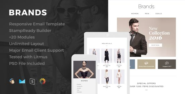 Brands -  eCommerce Responsive Email Template - Newsletters Email Templates