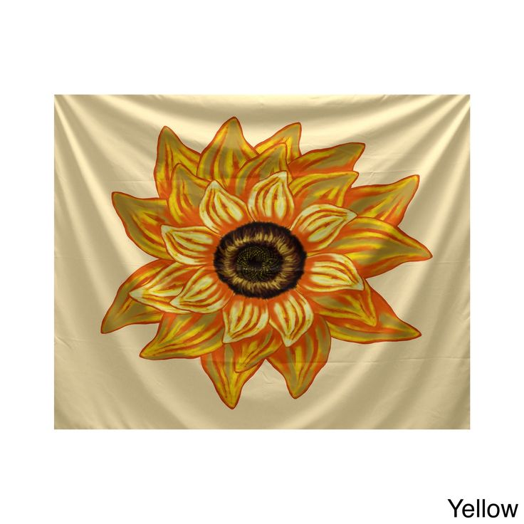 E by Design El Girasol Feliz Brown/Beige/Yellow Polyester 50-inch x 60-inch Floral-print Tapestry (Yellow)