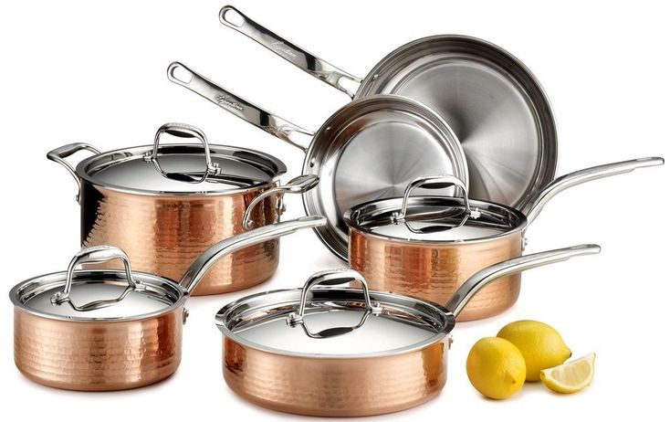 Hammered Solid Copper Cookware Set 10-Piece Stainless Steel Interior Oven Safe  #Lagostina